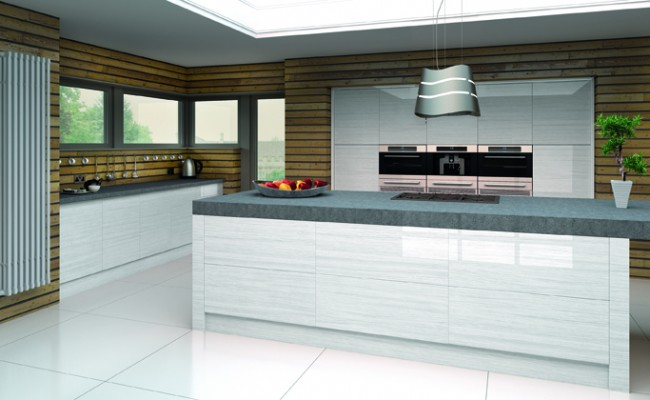 High Gloss Snow Larch Venice Kitchen