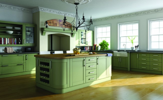 Paintable Garden Green Shaker Kitchen