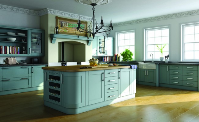 Paintable Tropez Blue Shaker Kitchen