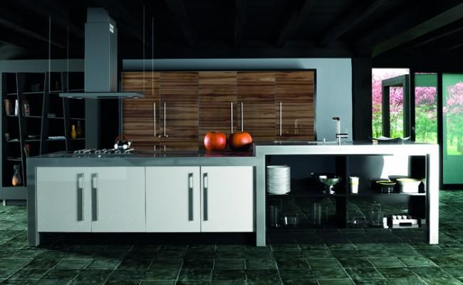 Ultra Gloss Noce Marino and White Kitchen